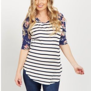Floral & Stripes Maternity Top